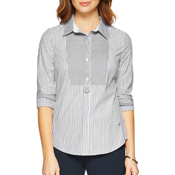 Nautica Long Sleeve Striped Bib Front Shirt