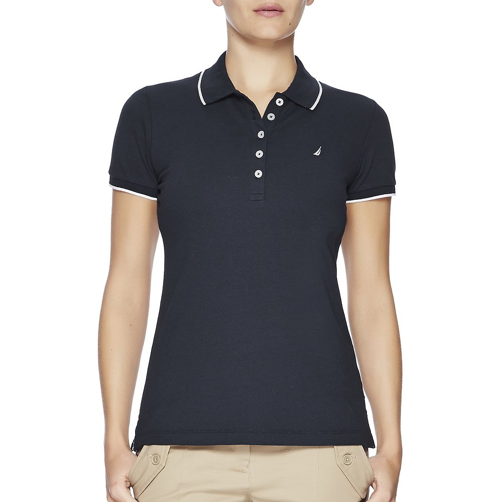 Short Sleeve Contrast Trim Solid Polo