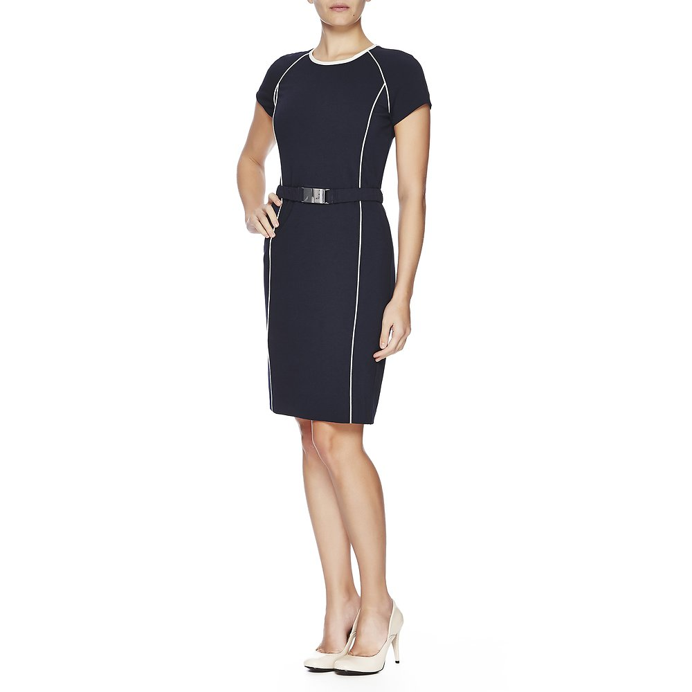 Ponte Dress With Piping