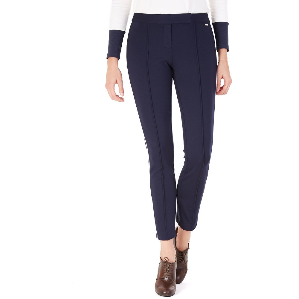 Skinny Seamed Ponte Pant With Piping