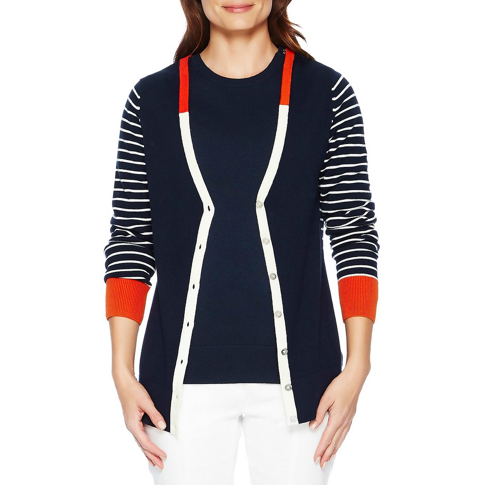 Long Sleeve Colour Block V-neck Cardigan