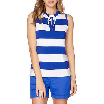 Nautica Striped Short Sleeve Drawstring Polo