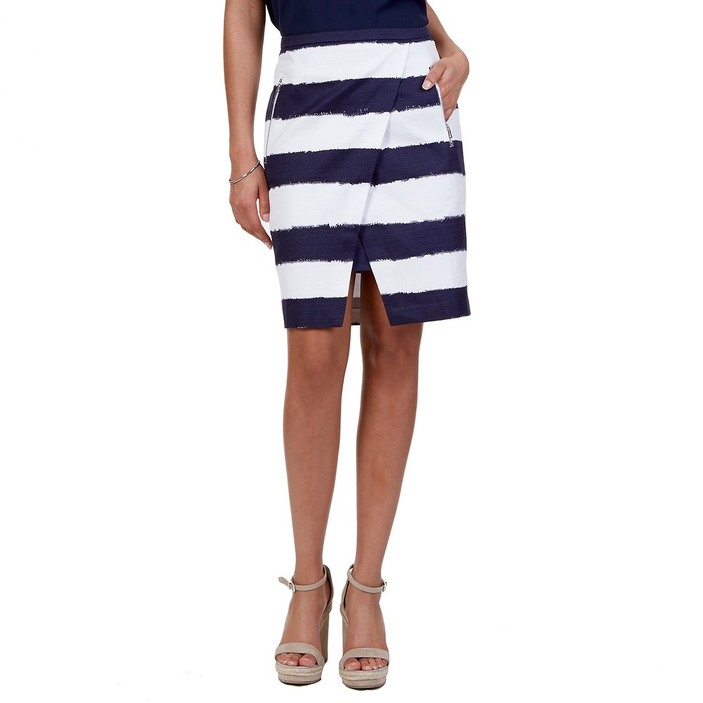 Nautica Striped Basket Weave Tulip Skirt