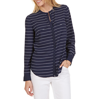 Nautica Long Sleeve Stripe Pocket Blouse