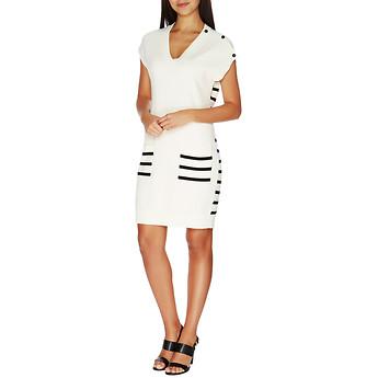 Nautica Button-Shoulder Stripe-Back Dress