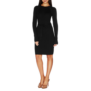 Nautica Ribbed Raglan Button-Shoulder Sweater Dress