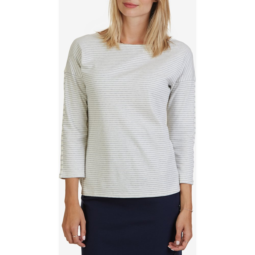 Striped Boat Neck Three-Quarter Sleeve Top