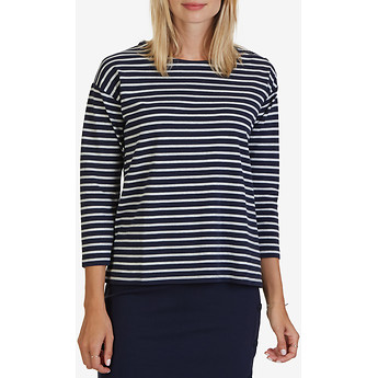 Nautica Three-Quarter Striped Shoulder-Button & Chambray Back Top