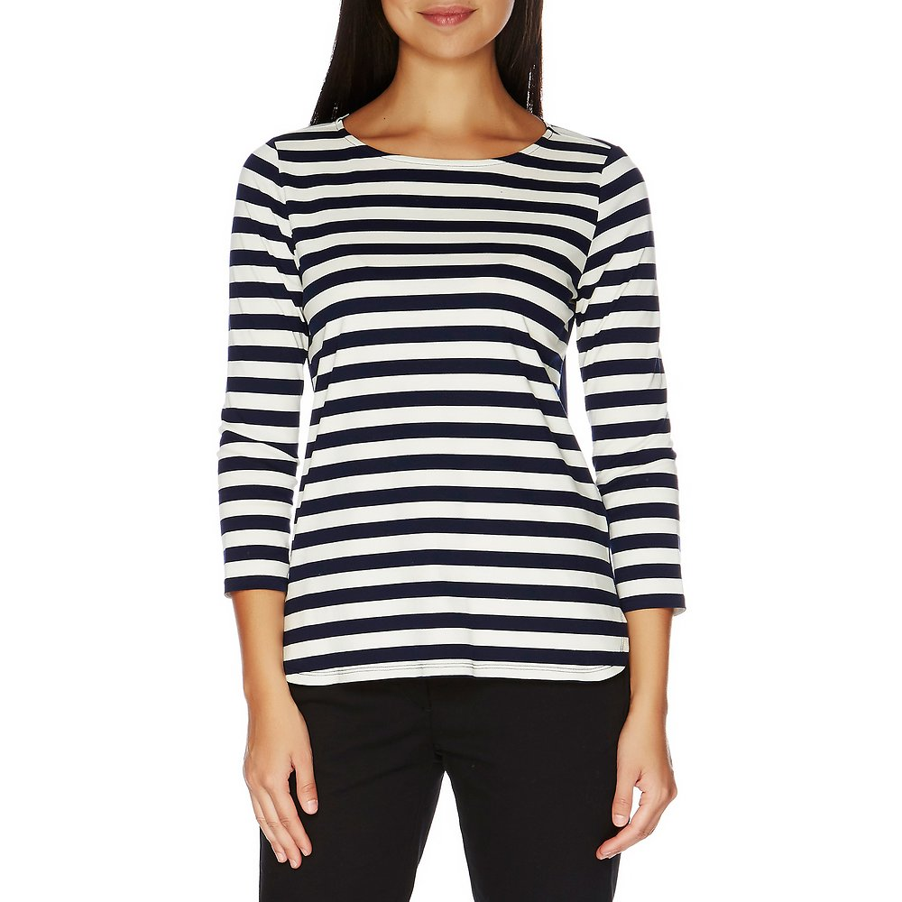 Three-Quarter Sleeve Striped Button-Back Top