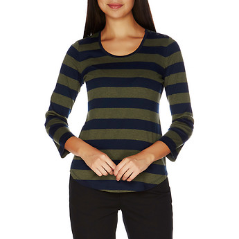 Nautica Striped High-Low Button Shoulder Top