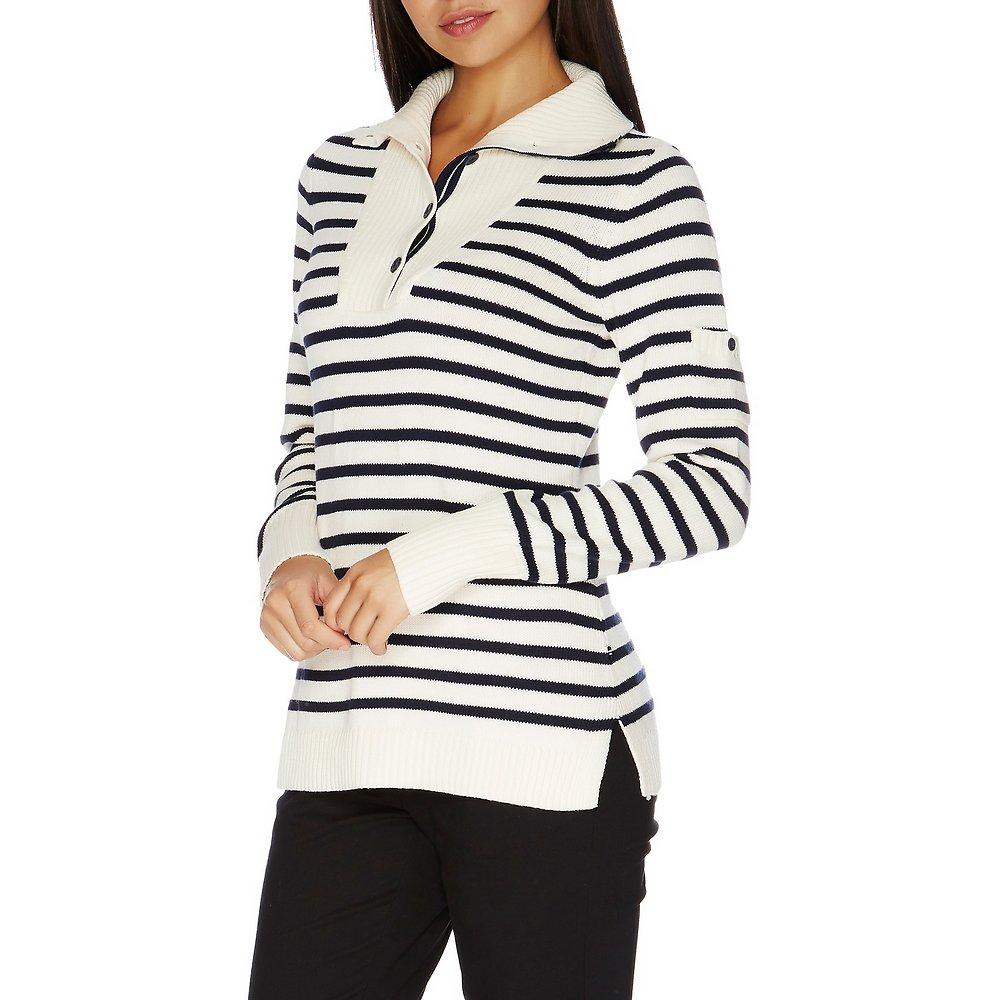 Stripe Funnel-Neck Button-Close Sweater