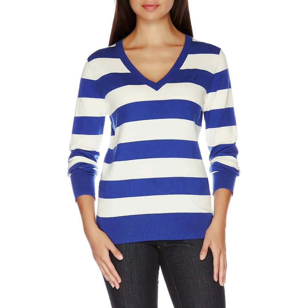 Essential V-neck Stripe Sweater