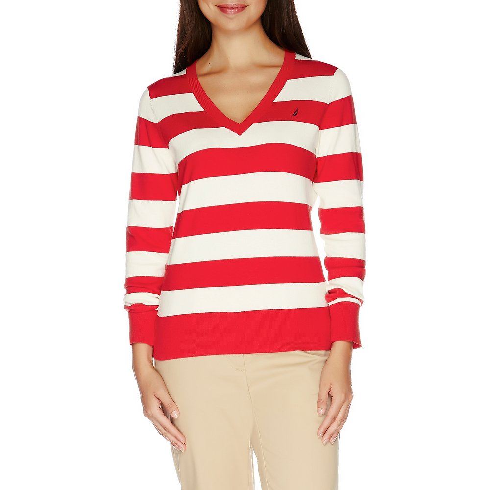 Nautica Essential V-neck Stripe Sweater