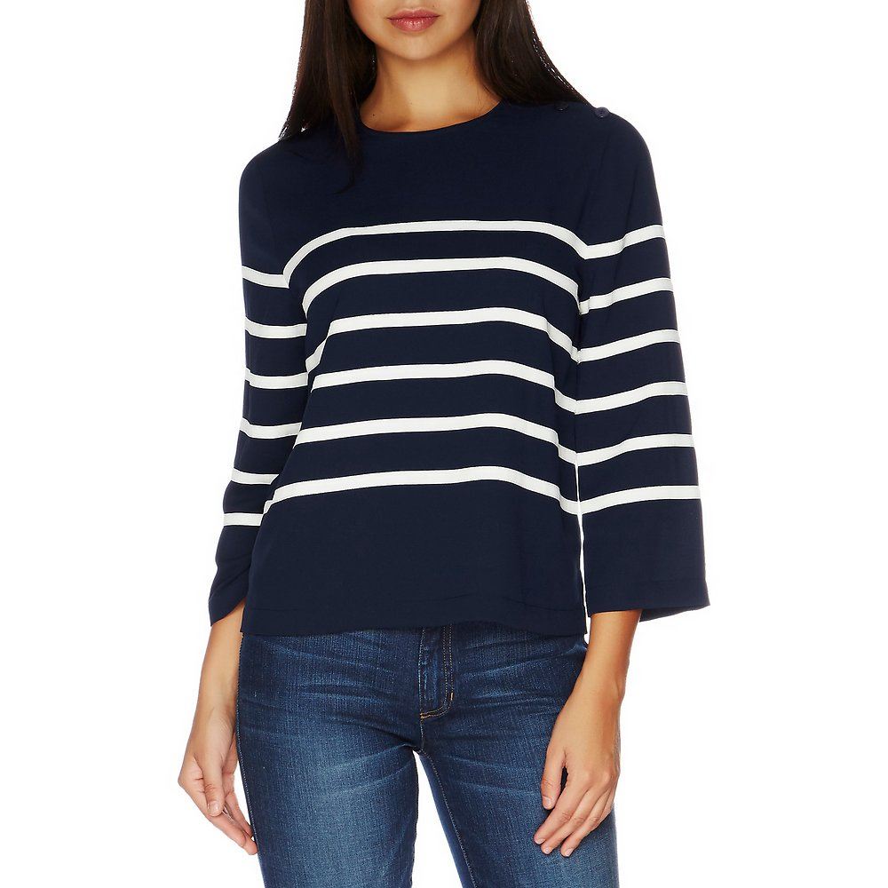 Nautica Three-Quarter Sleeve Breton Stripe Top