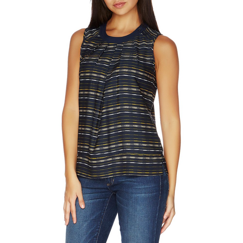 PRINTED CROSS-OVER PLEAT TOP WITH BUTTON