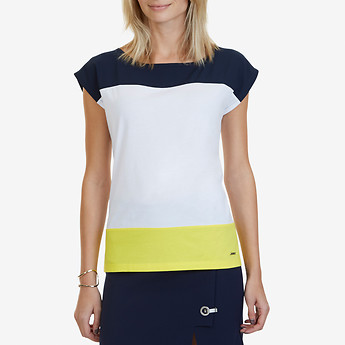 Nautica SHORT SLEEVE COLOURBLOCK ZIP BACK TOP