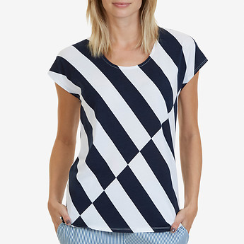 Nautica SHORT SLEEVE DIAGONAL STRIPE SCOOP NECK T-SHIRT