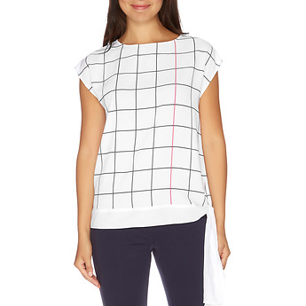 Nautica CAP SLEEVE GRID PRINT TIE BAND TOP