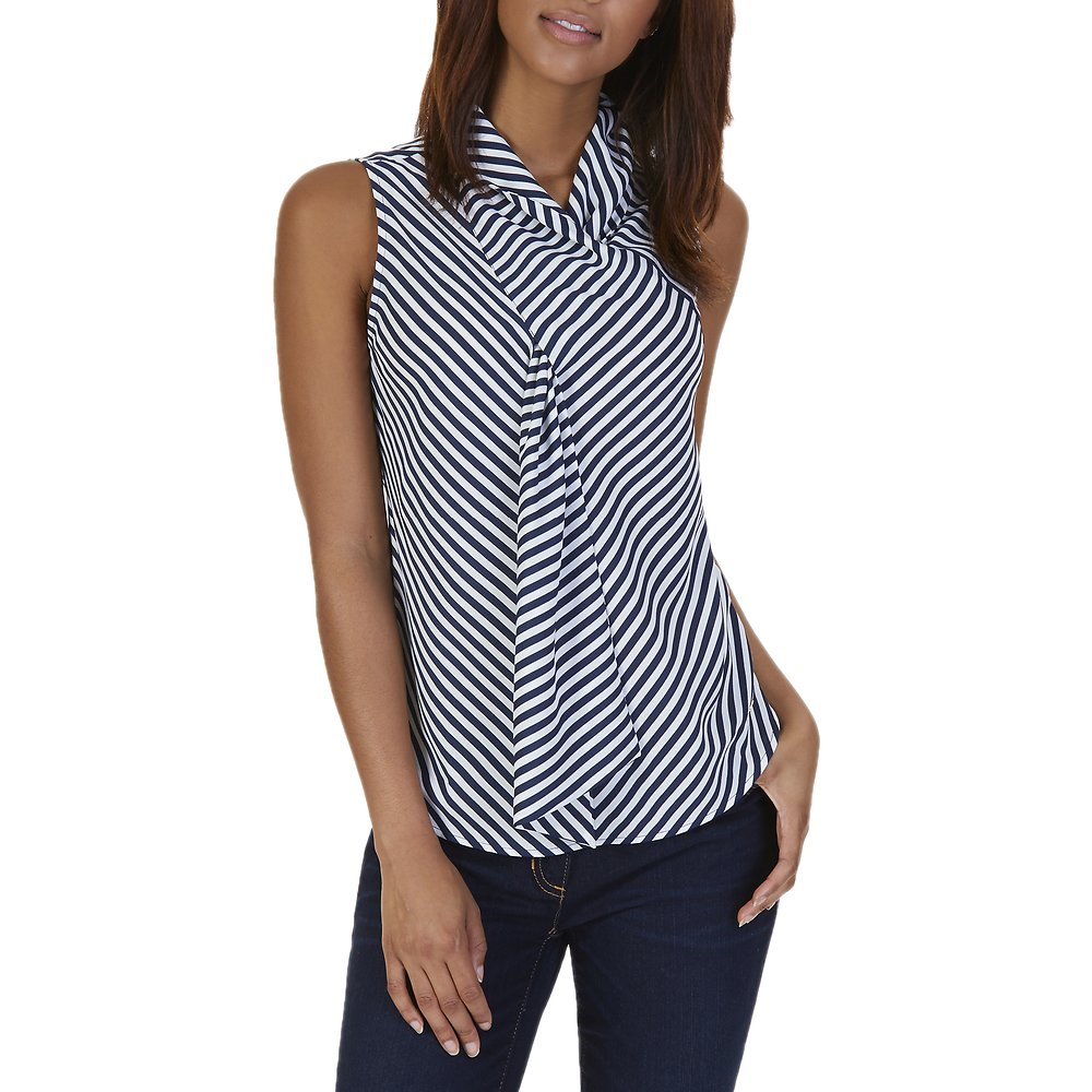 Nautica STRIPED SCARF NECK TOP