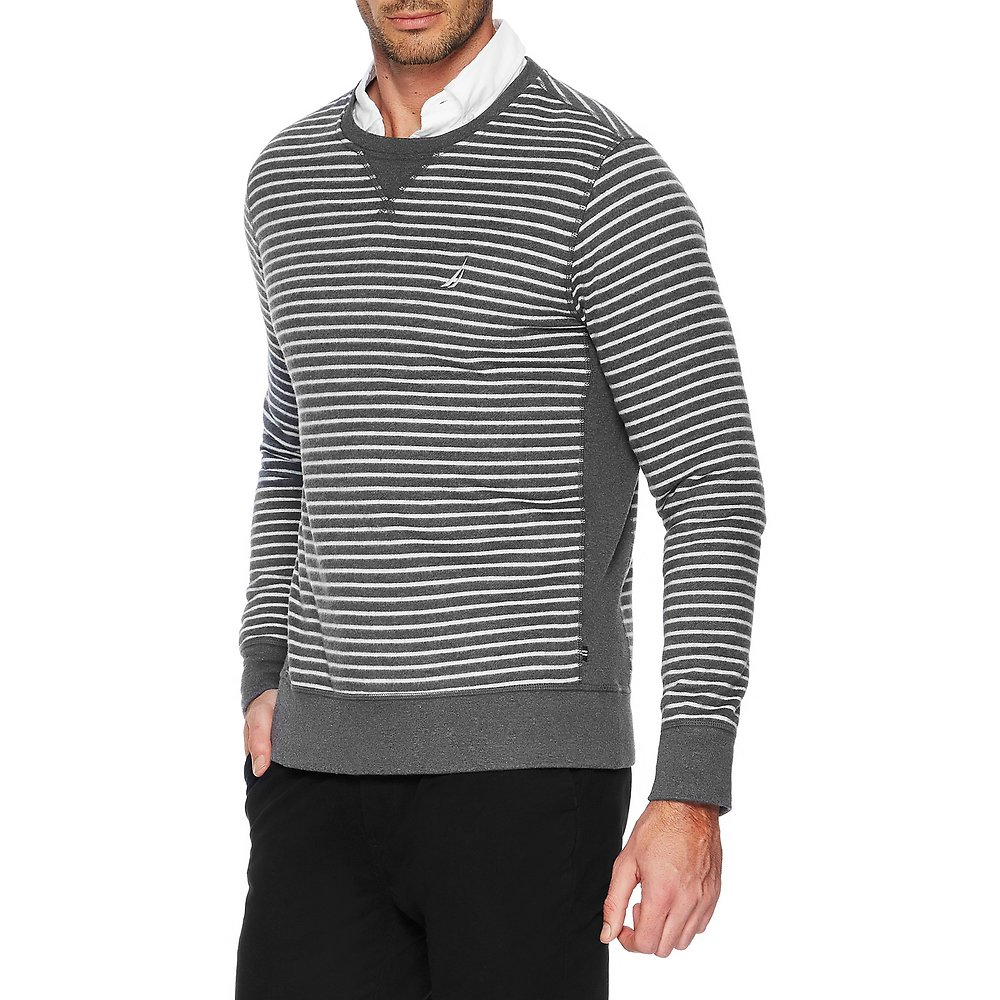 Long Sleeve Crew Neck Stripe Pullover