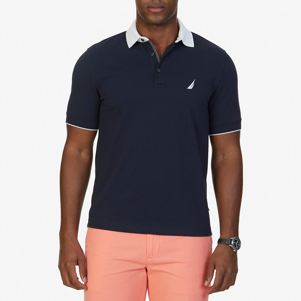 SHORT SLEEVE CONTRAST COLLAR STRETCH POLO