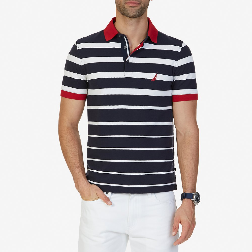 SHORT SLEEVE GRADIENT STRIPE POLO