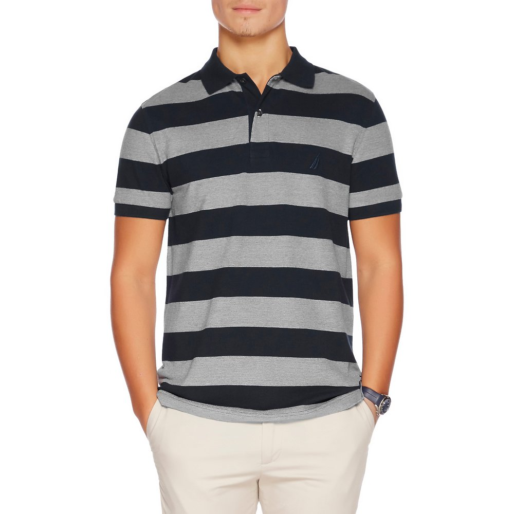 SHORT SLEEVE SLIM RUGBY STRIPE POLO