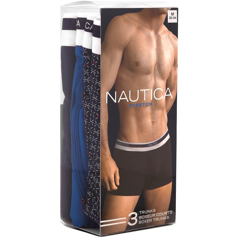 3 Pack Stretch Cotton Nautica Branded Band Boxer Briefs