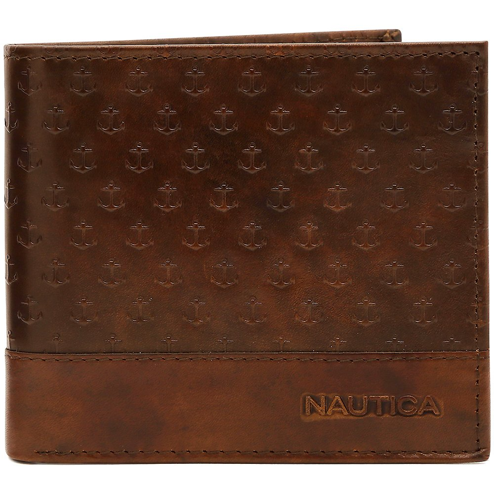 Nautica Leather Vintage Anchor Print Wallet