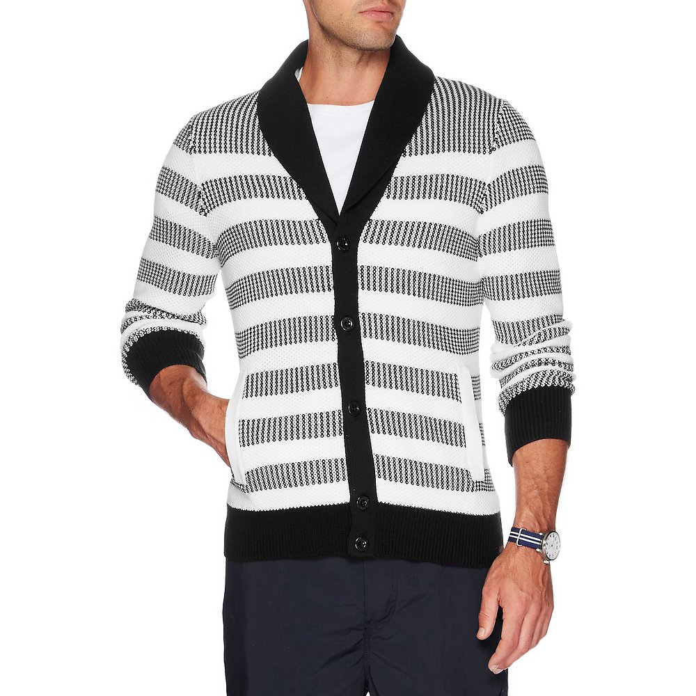 Shawl Neck Stripe Cardigan