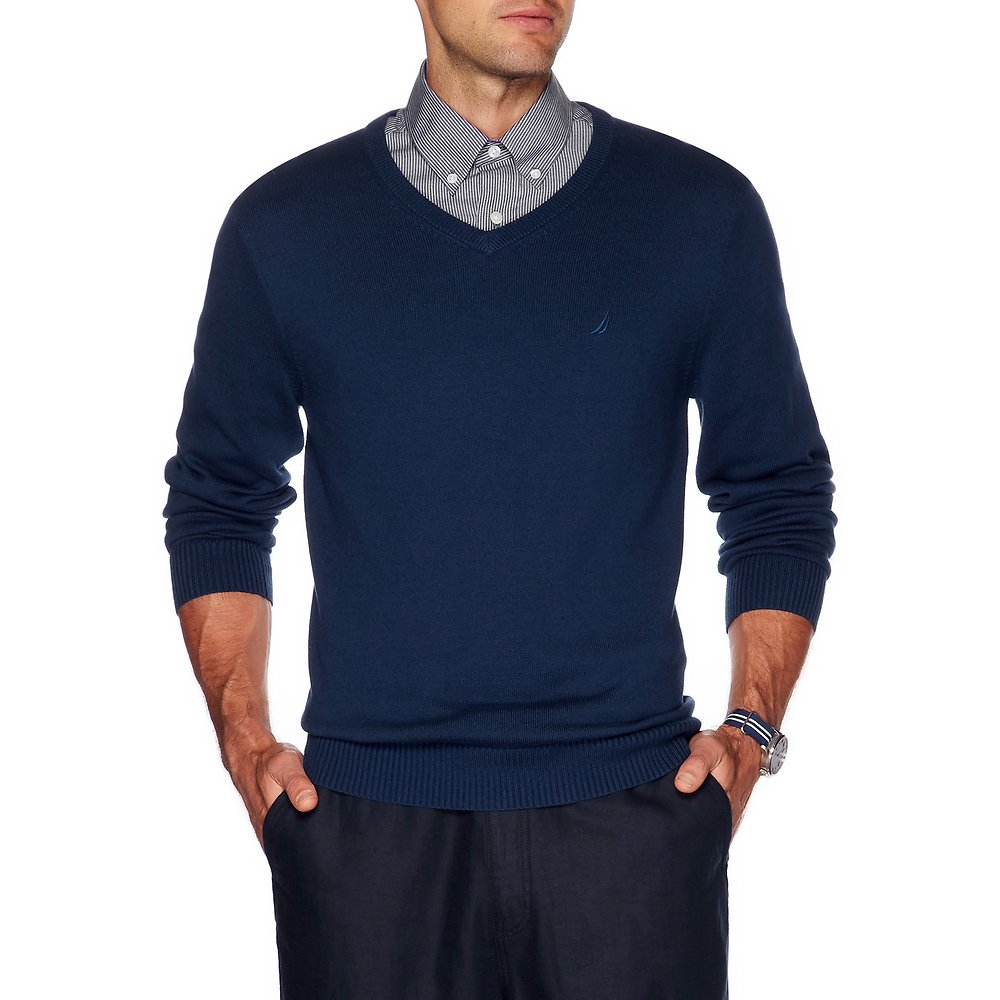 Nautica LONG SLEEVE SOLID V-NECK SWEATER