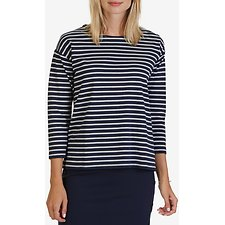 Picture of Three-Quarter Striped Shoulder-Button & Chambray Back Top