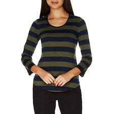 Image of Nautica DARK MOSS HEATHER Striped High-Low Button Shoulder Top