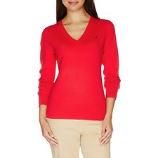 Image of Nautica BRIGHT RED Long Sleeve Essential V-neck Sweater