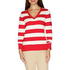 Image of Nautica BRIGHT RED Essential V-neck Stripe Sweater