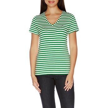Image of Nautica  Essential Short Sleeve Stripe V-Neck T-shirt