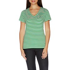 Image of Nautica GREEN PASTURE Essential Short Sleeve Stripe V-Neck T-shirt