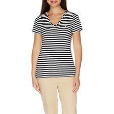 Picture of Essential Short Sleeve Stripe V-Neck T-shirt