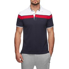 Image of Nautica NAUTICA RED COLOUR BLOCK SHORT SLEEVE POLO