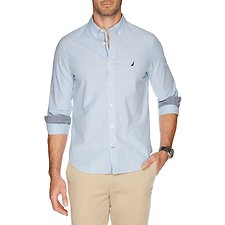 Image of Nautica RIVIERA BLUE BUTTON DOWN COLLAR LONG SLEEVE FINE STRIPE SHIRT