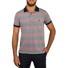 Image of Nautica ROYAL BURGUN STRIPED SHORT SLEEVE POLO