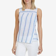 Picture of SLEEVELESS LINEN-BLEND STRIPED PANEL TOP