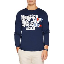 Image of Nautica ESTATE BLUE LONG SEELVE NEW YORK SEA CITY GRAPHIC TEE