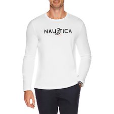 Image of Nautica BRIGHT WHITE DROP ANCHOR LONG SLEEVE TEE