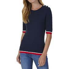 Picture of SHORT SLEEVE TIPPED SWEATER