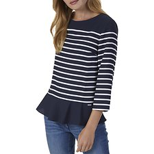 Picture of SHORT SLEEVE BRETON STRIPE PEPLUM WOVEN TOP