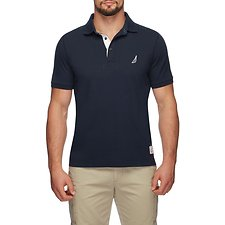 Image of Nautica TRUE NAVY SAIL STITCH COLLAR SHORT SLEEVE POLO