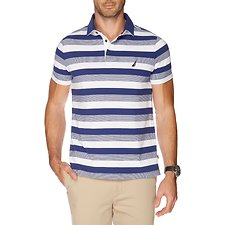 Image of Nautica BLUE DEPTHS GRADIENT STRIPE SHORT SLEEVE POLO