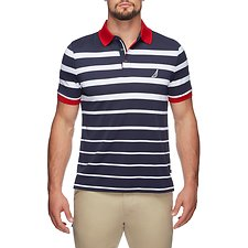 Image of Nautica TRUE NAVY ENGINEERED STRIPE MOISTURE WICKING POLO