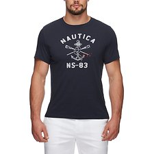 Image of Nautica TRUE NAVY SS Crew Neck Crossed Tee